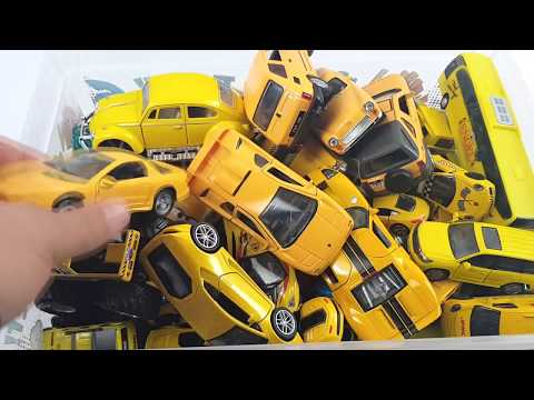 Box Full of Yellow Cars welly kinsmart Hot Wheels disney Video for Kids
