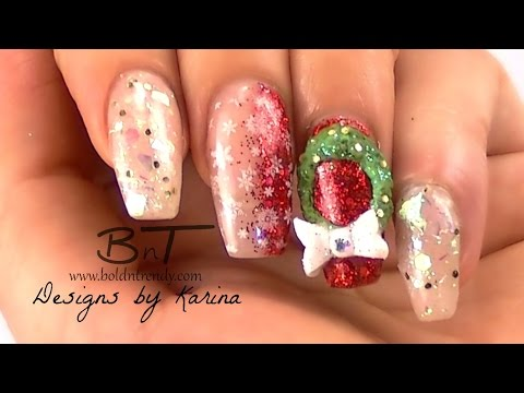 3d Wreath Nail Art Christmas Acrylic Nail Designs E053 Youtube