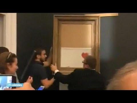Zo vernietigde het peperdure schilderij van Banksy zichzelf - RTL NIEUWS