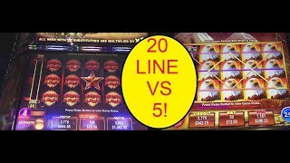 2 JACKPOTS! COMPARING 20 LINE TO 5! EAGLE BUCKS AND RHINO RUMBLE SLOT MAHCHINES!