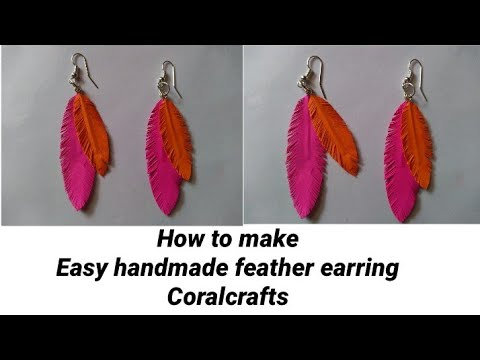 How to make feather earring | handmade paper feather earring | diy | tutorial | coralcrafts
