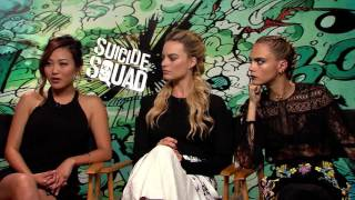 "Margot Robbie Cara Delevingne Karen Fukuhara  Suicide Squad.""Who is the most evil off camera?"""