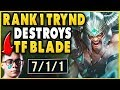 #1 TRYNDAMERE WORLD DESTROYS TF BLADE IN HIGH-ELO! (ABSOLUTE STOMP) - League of Legends