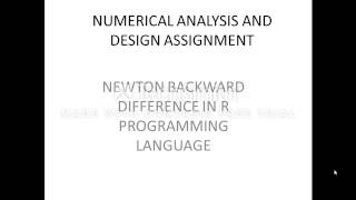 Newton's backward difference in r programming language