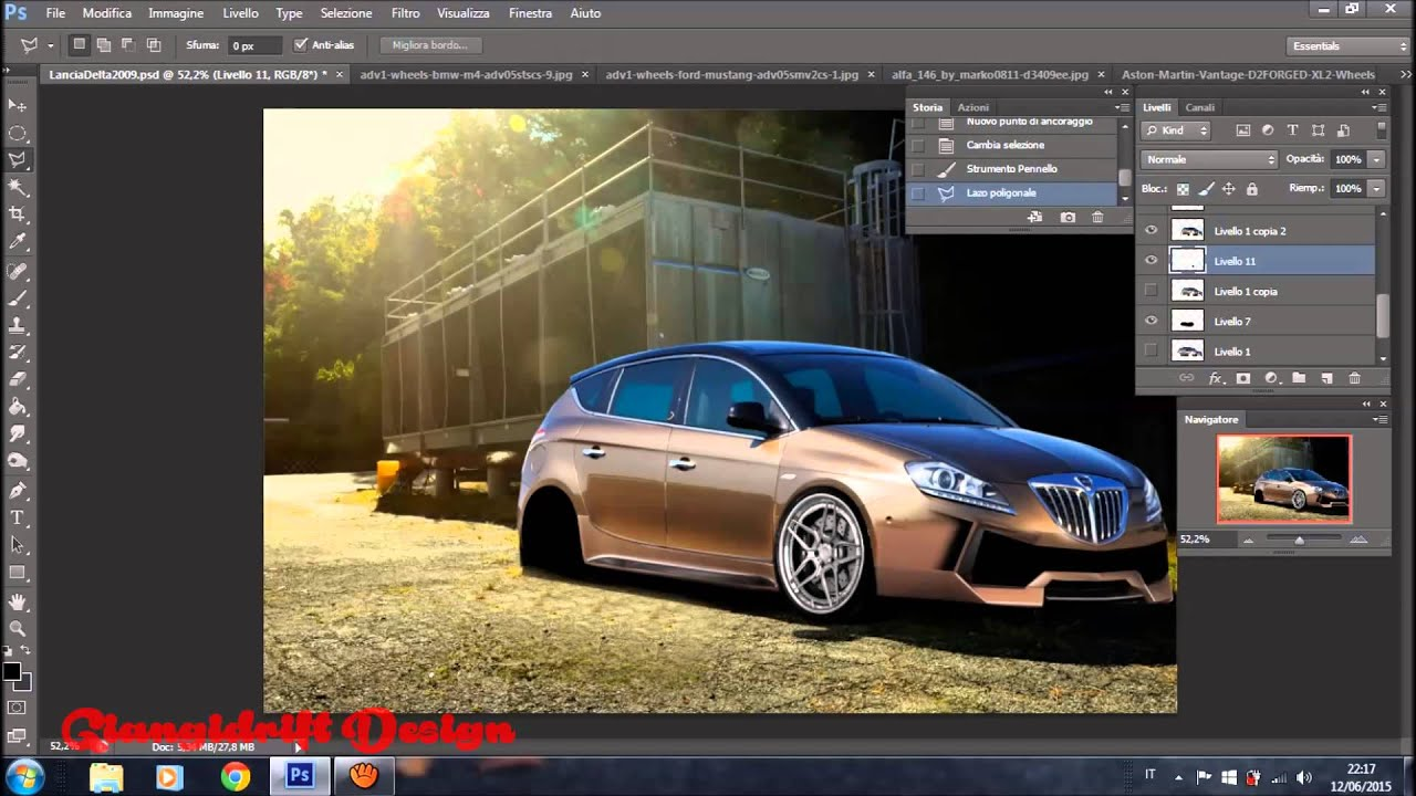 lancia delta 2009 virtual tuning photoshop youtube. Black Bedroom Furniture Sets. Home Design Ideas