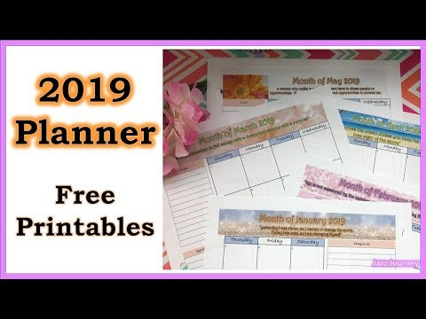 2019 Monthly Planner Free Printable