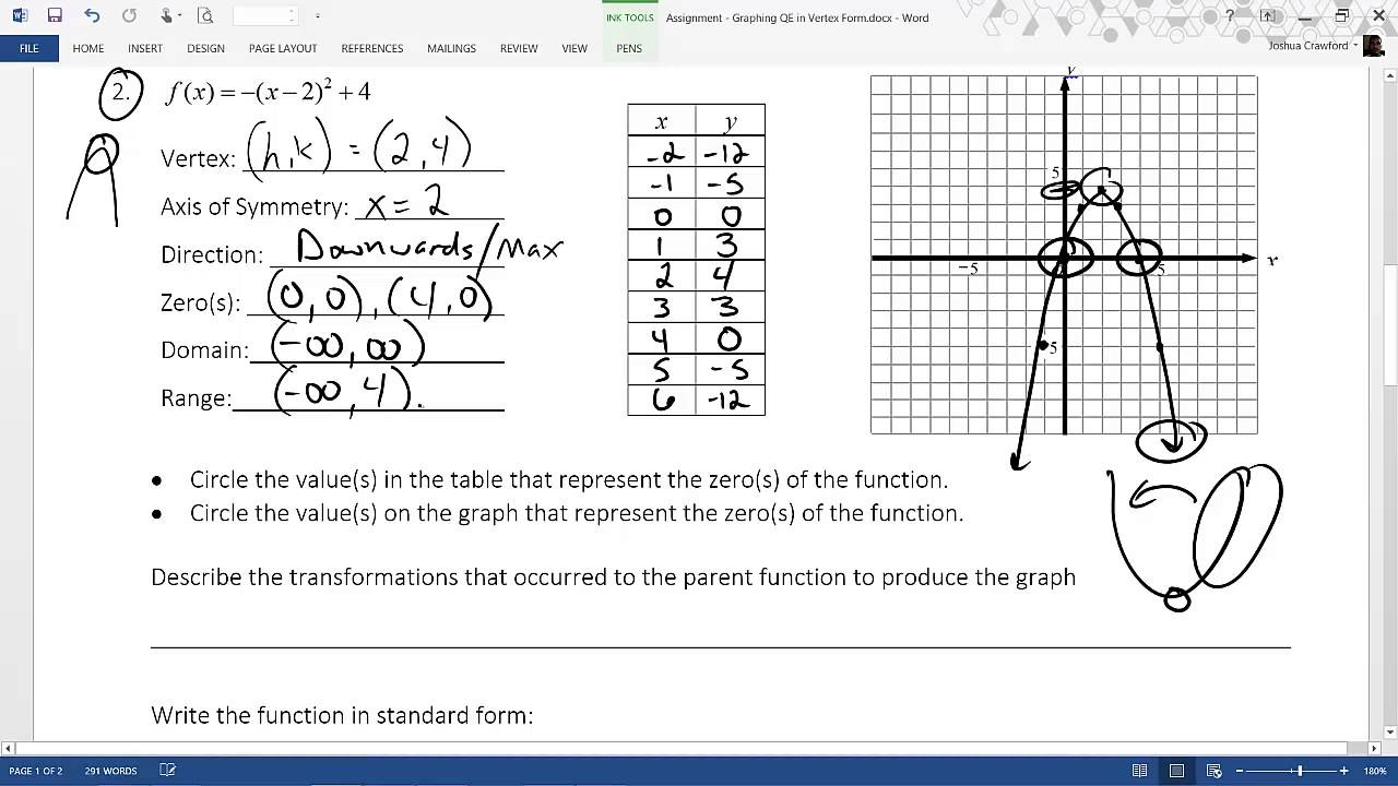 Assignment graphing quadratics in vertex form youtube assignment graphing quadratics in vertex form robcynllc Images