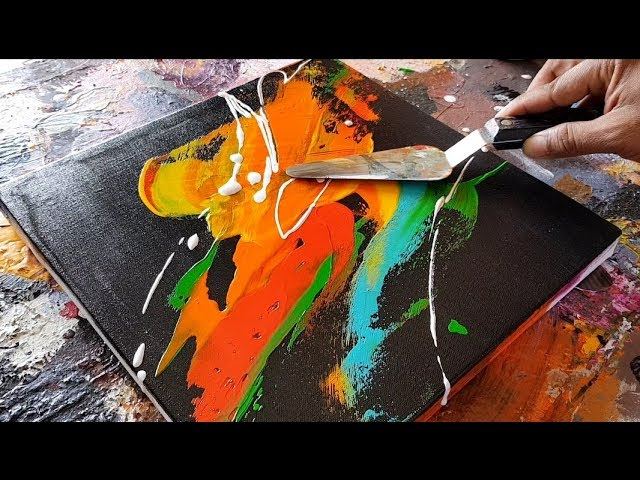 Abstract Painting Palette Knife Acrylics Easy Demonstration