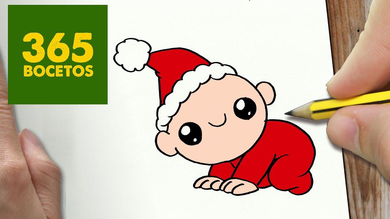 Como dibujar un bebe para navidad paso a paso dibujos - Dibujos para habitaciones de bebes ...