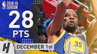 Kevin Durant Full Highlights Warriors vs Pistons 2018.12.01 - 28 Pts, 7 Ast, 6 Rebounds!