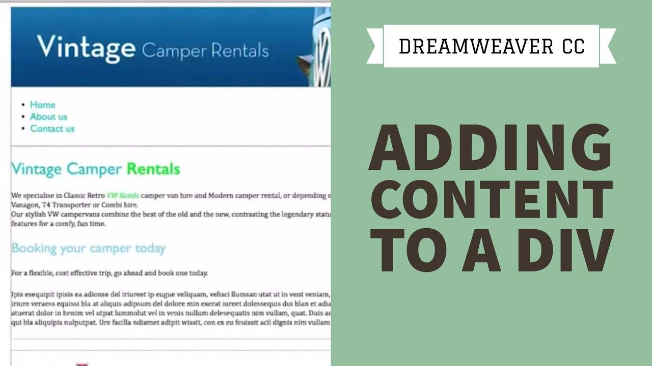 Adding content to a div in Dreamweaver CC [28/34]