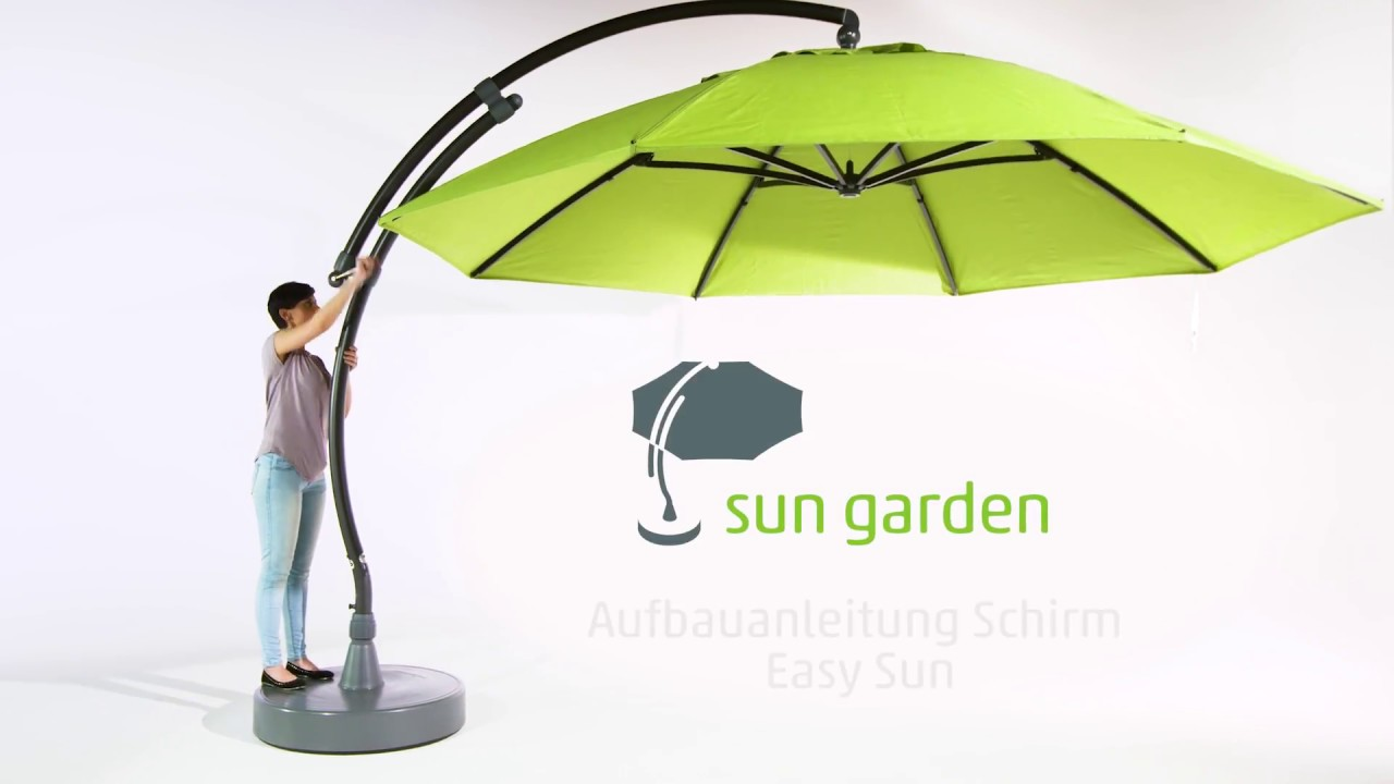 sun garden aufbauanleitung schirm easy sun youtube. Black Bedroom Furniture Sets. Home Design Ideas