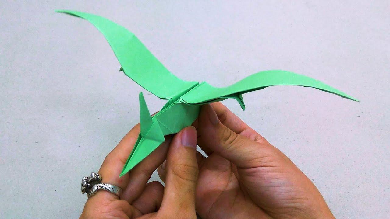 Gấp khủng long bay - Origami flying dinosaur easy - Gấp giấy origami
