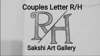 Couples Letter R❤H With Pencil Drawing
