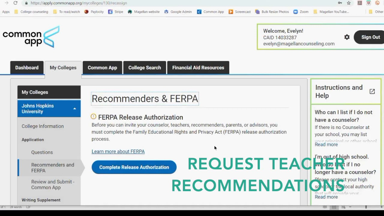 ferpa form 2019  COMMON APP EDUCATION, FERPA, AND RECOMMENDERS || MAGELLAN COLLEGE COUNSELING