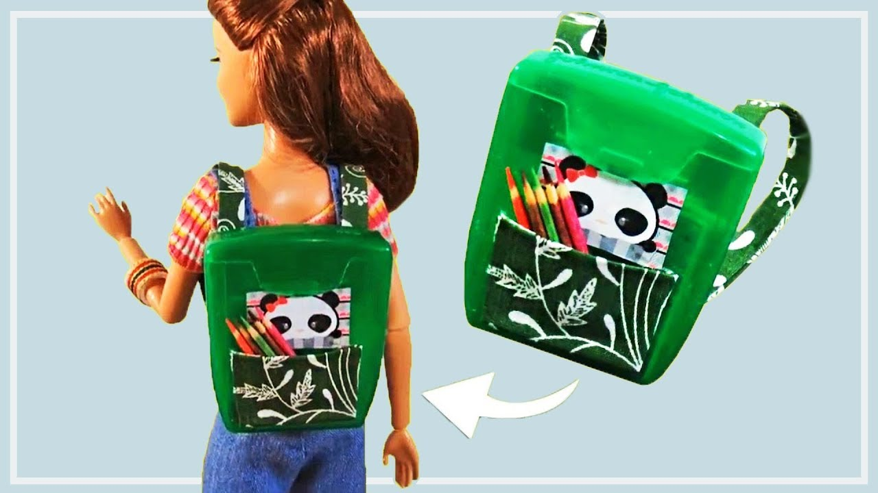 5ac5b0f1fed7 DIY Miniature Schoolbag   Mini Backpack for Barbie using Dental Wire  Packing   Doll Accessories