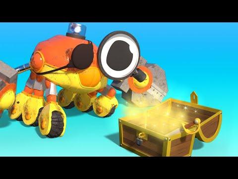 АнимаКары - БЫК БУЛЬДОЗЕР лишился своих гусеничных колёс !!! - мультфильмы с животными со зверюшками