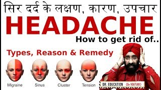 How to Treat सर दर्द Migraine/ Tension/ Sinus/ Cluster Headache - Reason, Remedy  Dr.EDUCATION