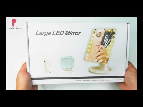 Pandorabox | Led Lighted Touch Screen Make-up Mirror With 16 LED Light (Black)