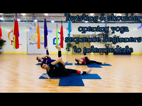 twisting  shoulder opening yoga sequence beginners to