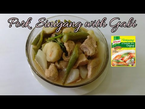 how-to-cook-pork-sinigang-with-gabi-(knor-sinigang-mix)