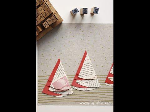 64415f2fe5c3 Tarjetas Navideñas hechas a mano originales con árboles de papel (MUY FÁCIL)