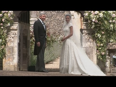 Pippa Middleton arrives at church for her wedding