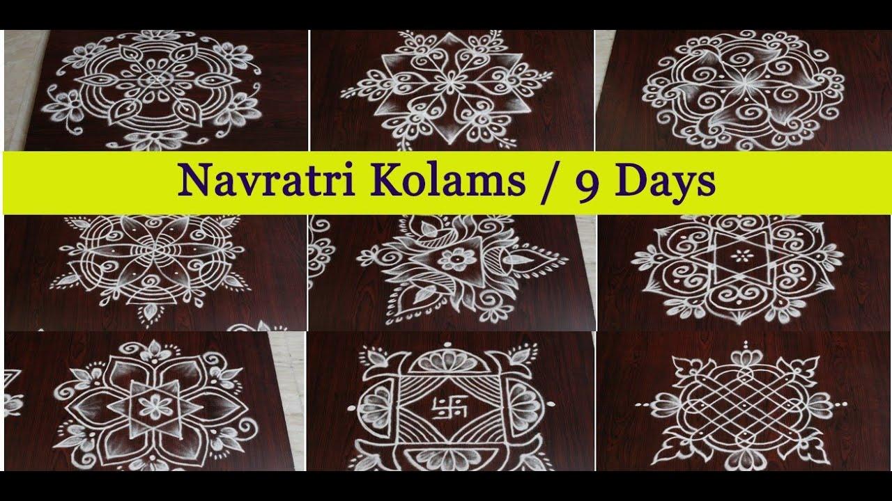 Navratri Kolams for 9 Days   Navratri Easy Rangoli Designs   3 dots Pandaga Muggulu   RangRangoli