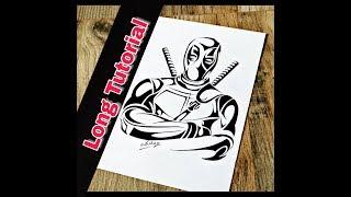 Deadpool Drawing    Long Tutorial    Tribal Tattoo Design Style    Marker portrait