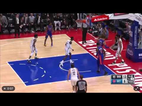 Jarrett Allen blocks Blake Griffin Detroit Pistons vs Brooklyn Nets