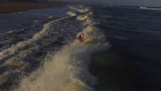 Drone footage of us swimming on remote South African beach