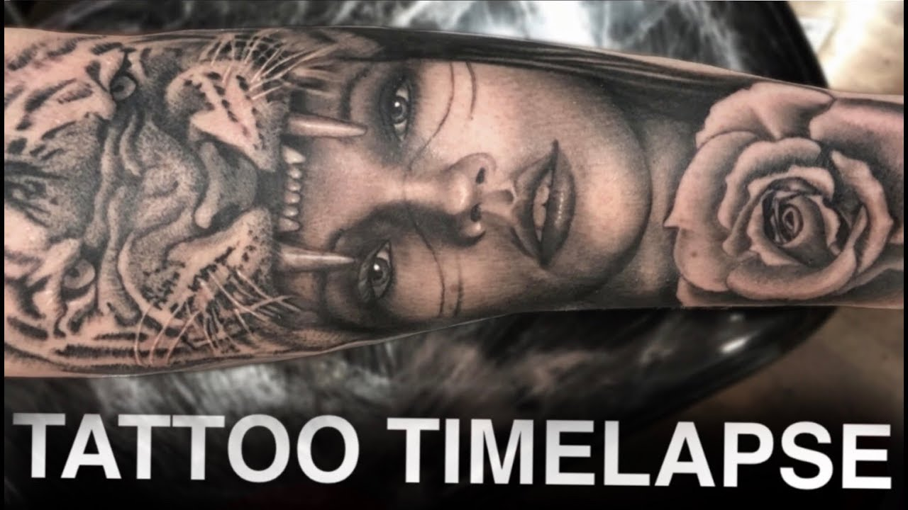 Tattoo Timelapse Tiger Headdress Chrissy Lee Youtube