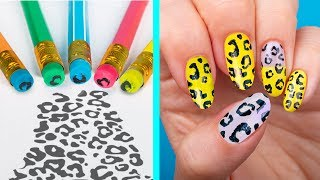 11 Weird Nail Hacks / Back To School Nails Using Only School Supplies!