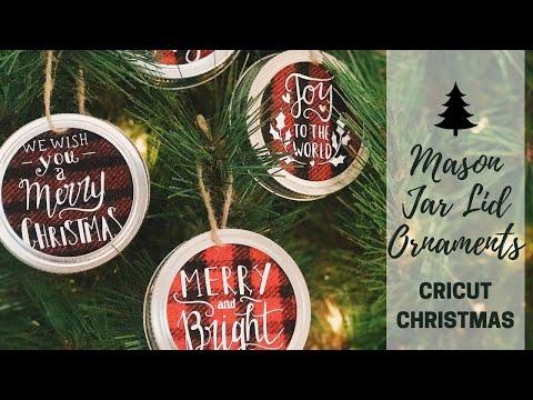 How to Make Mason Jar Lid Ornaments   Farmhouse Style Decor   DIY Cricut Christmas Decorations