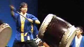 Kyodo Taiko performing their signature finale in Royce Hall at UCLA...