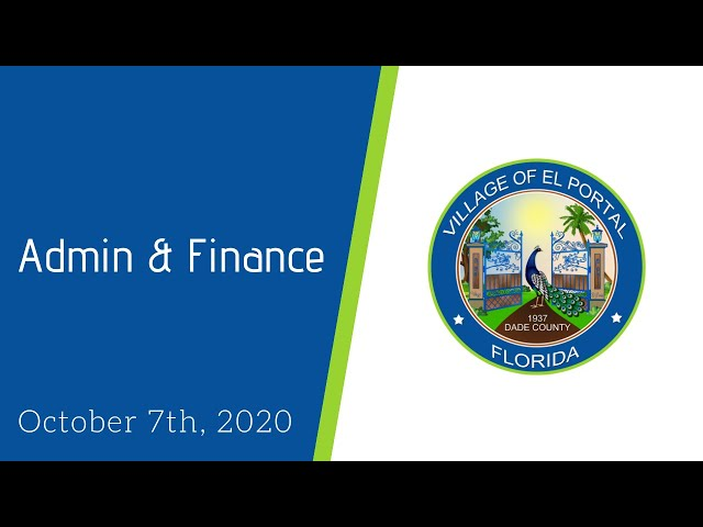 Village of El Portal Meeting Admin and Finance Meeting October 7, 2020