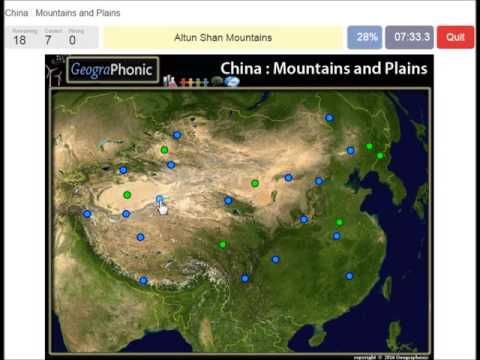 Mountains and Plains of China, Kunlun Shan Mountains, Lesser Khingan Range, Tibetian Plateau,