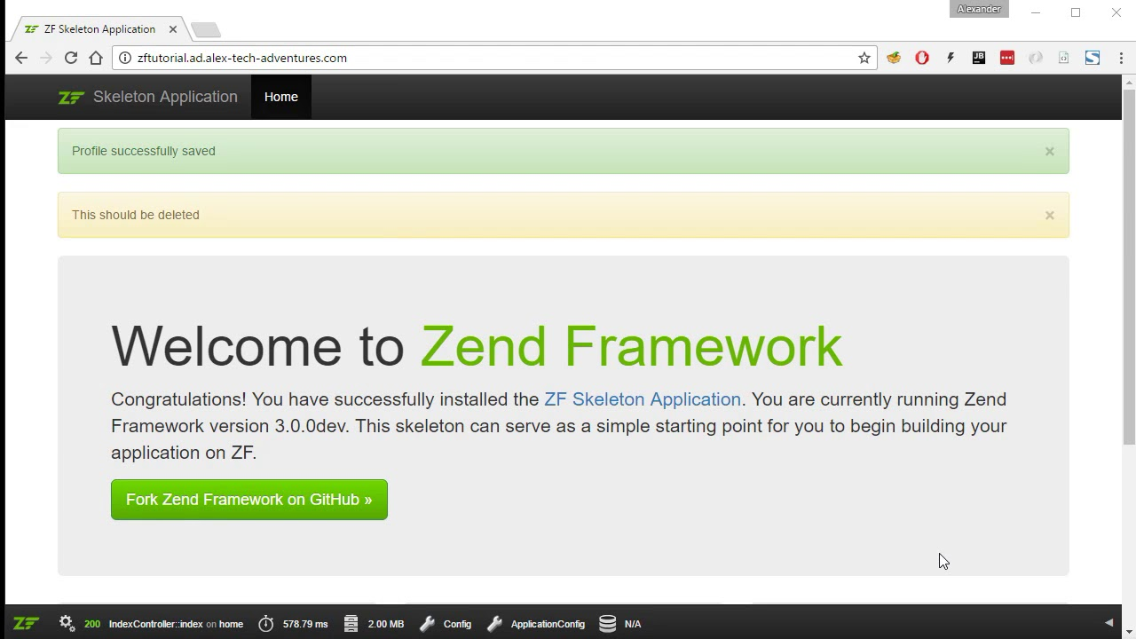 Zend Framework 3 tutorial 8 FlashMessenger across multiple pages