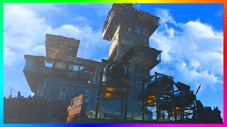 FALLOUT 4 BASE BUILDING GAMEPLAY - Ultimate Weaponized Island Base Settlement Build! (Fallout 4)