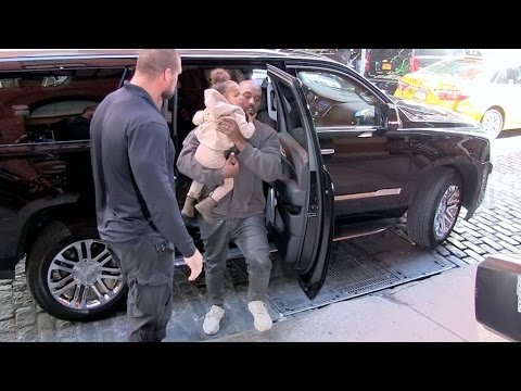 Kanye West, his daughter North and Kim Kardashian promote Beige in NYC