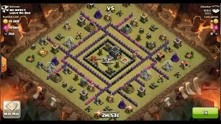 Clash of Clans TH9 vs TH9 Giant & Wizard (GiWi) Clan War 3 Star Attack