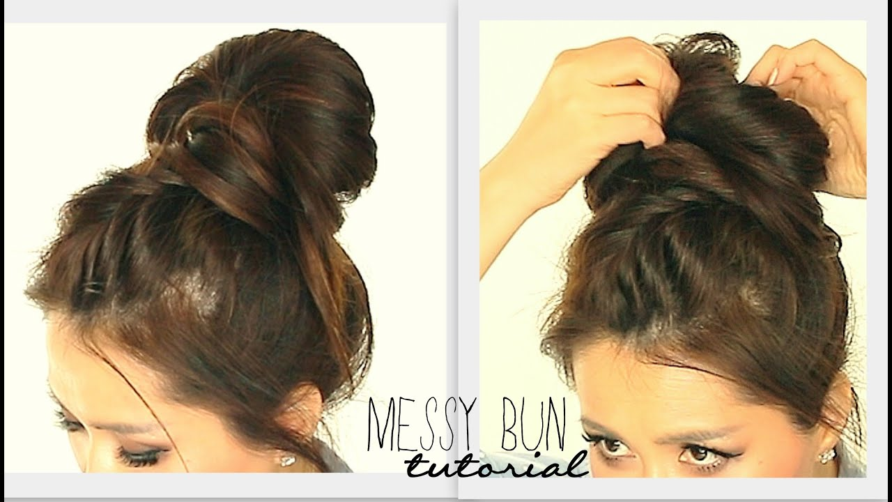 BIG MESSY BUN BRAID TUTORIAL
