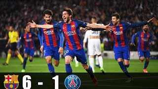 fc barcelona vs psg 6 1 highlights ucl 2016 17