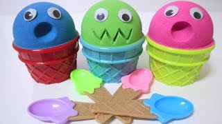 3 Color Kinetic Sand in Ice Cream Cups l Open Hatchimals Surprise Toys
