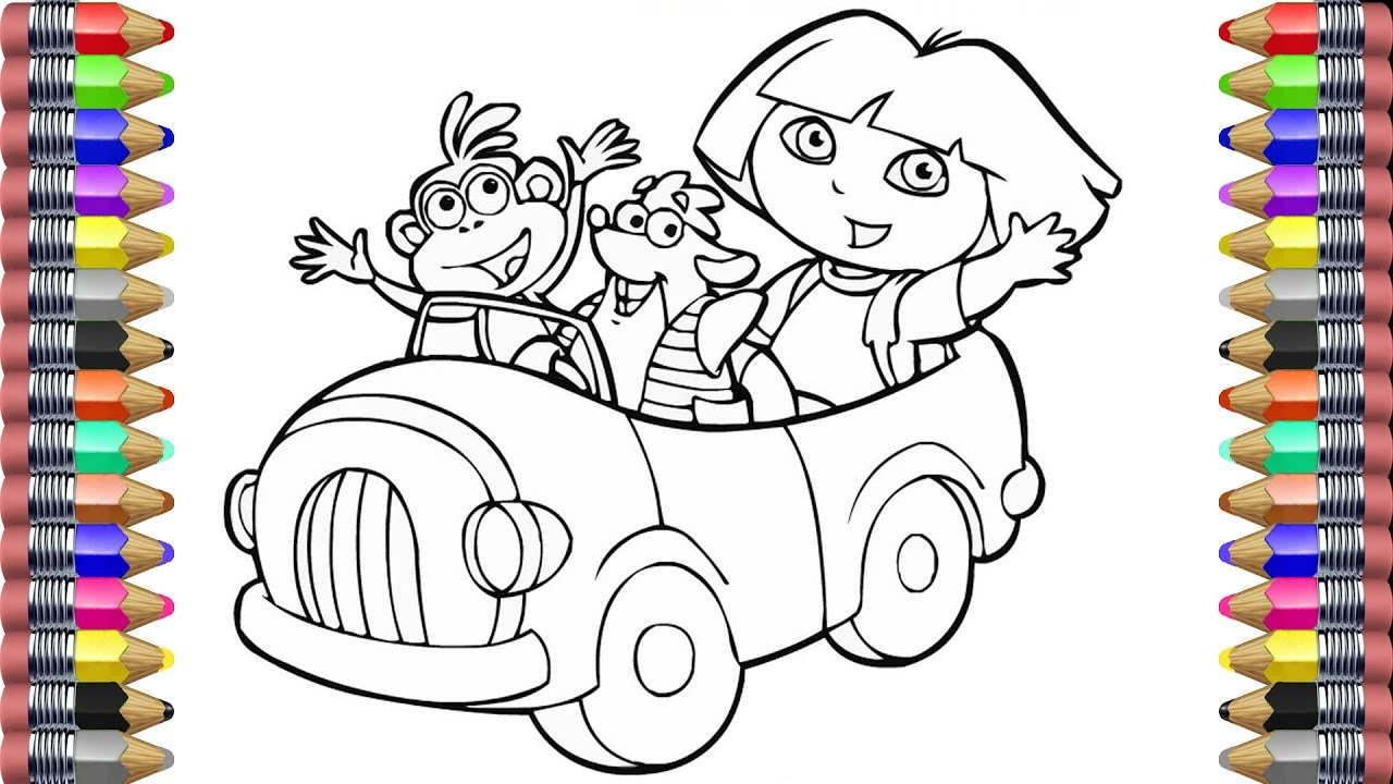 Coloring Book For Kids Pages Dora And Friends Painting Car