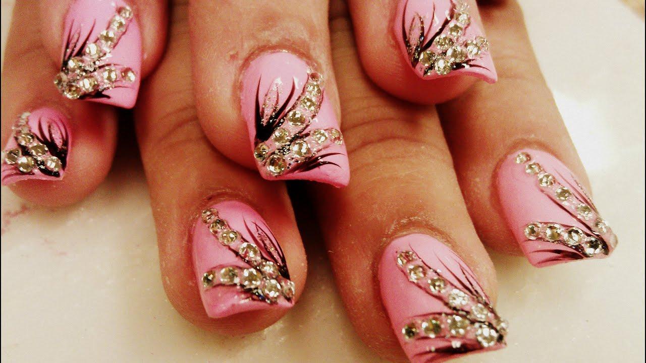 diamond nail art pink color