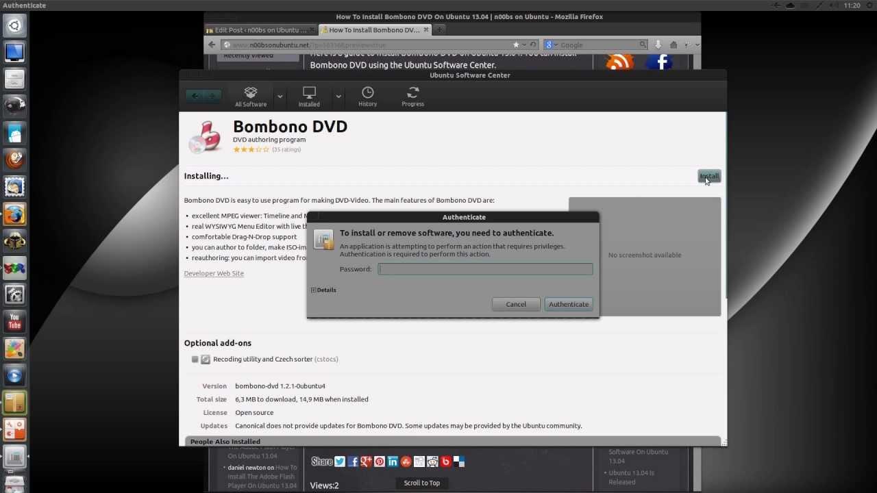 video youtube ubuntu 13.04