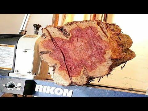 Woodturning - Rough edge log into a vase !! hollowform