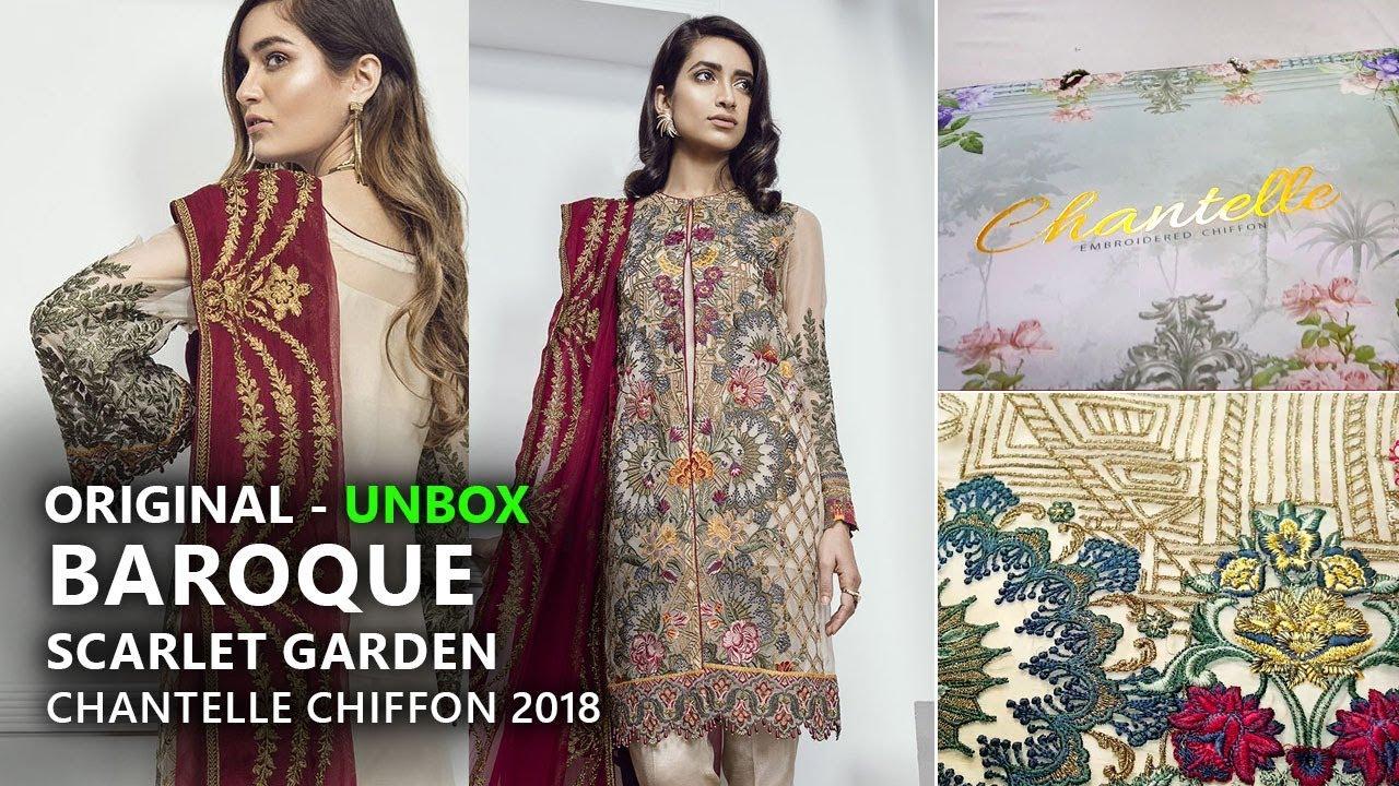 9065d7b259 Baroque Chantelle Chiffon Collection 2018 - Unbox Scarlet Garden Pakistani  Branded Clothes