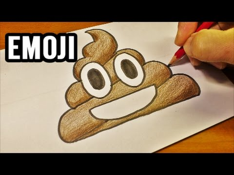 Very Easy ! How To Draw the Poop Emoji - Easy and Cute art on paper for kids
